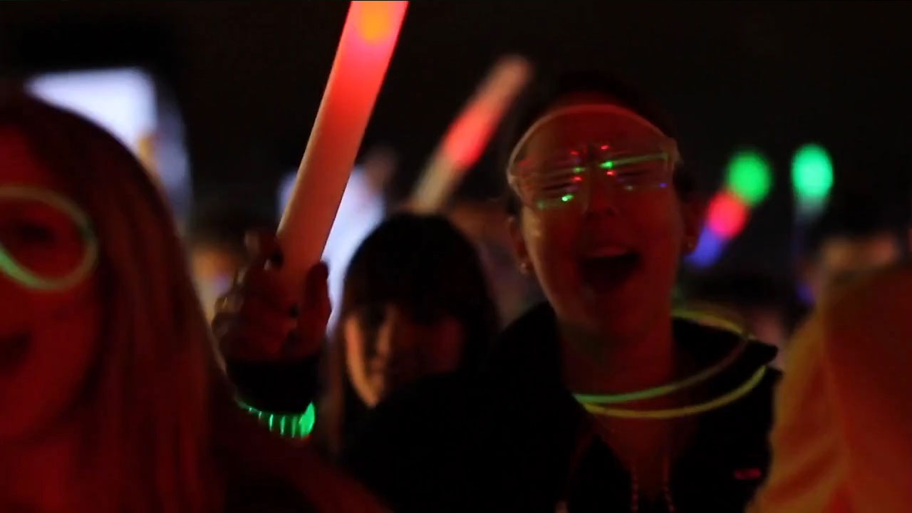 A clubber enjoying the light it up party